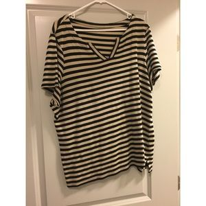 Brown and black stripped shirt with vneck
