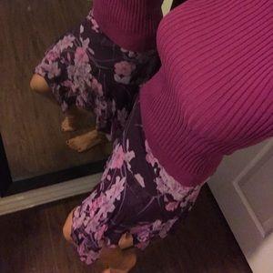 Bebe Purple Silk A-Symmetrical flirty Skirt Size S