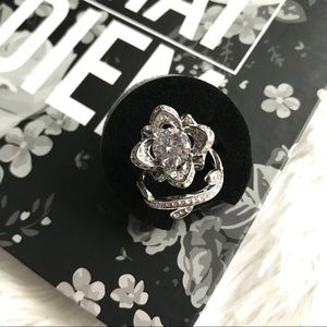Jewelry - ✨New! .925 Silver Plated Flowers in Bloom Ring Set