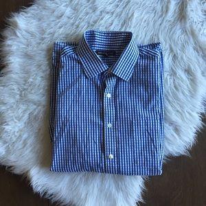 Michael Kors Blue Check Button Up
