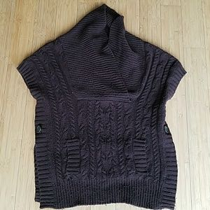 Brown chunky knit poncho sweater