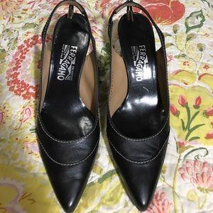 Salvatore Ferragamo black sling back heels