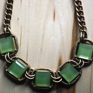 Chunky green stone necklace