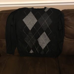 Black Argyle Sweater XL