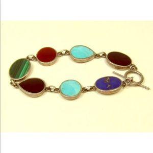 Jewelry - Sterling Silver semiprecious Stone Inlay bracelet