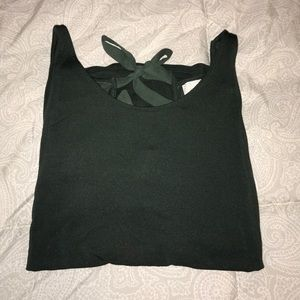 Olive green tank with an open back that ties!