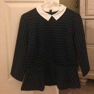 Ann Taylor Collared Peplum Shirt