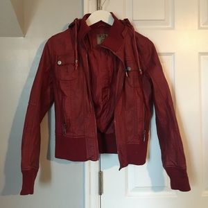 Cherry Burgundy Faux Leather Jacket
