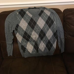 INC Argyle Grey V Neck Sweater- Merino Wool XL