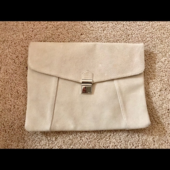 Limited Edition Handbags - Envelope Clutch Purse in Cream Leather suede