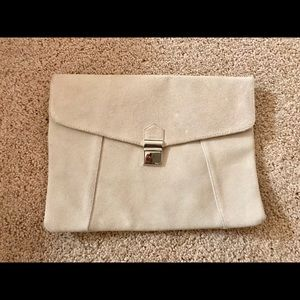 Limited Edition Bags - Envelope Clutch Purse in Cream Leather suede