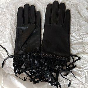 BCBG Max Azria Black Leather Gloves size S
