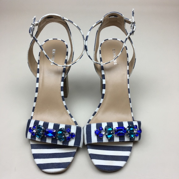 1c2838d66 Express Shoes - EXPRESS Jeweled Blue   White Striped Sandal Heels