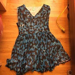 Reiss Silk Blue Printed Fit Flare Dress 10 $268