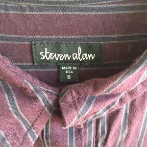 Steven Alan burgundy striped shirt dress/tunic