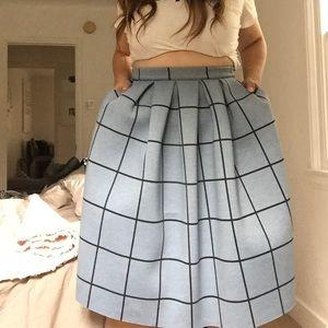 Topshop Grid Neoprene Skirt
