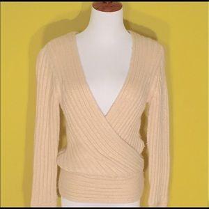 Deep V-neck H&M cream faux wrap sweater, size XS