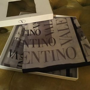 "Valentino scarf grey cotton 17x17"" gift boxes NWT"