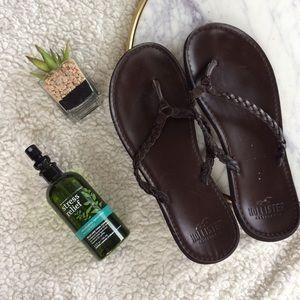 Hollister Leather Flip-Flops
