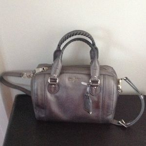 Cole Haan Pewter Leather Satchel