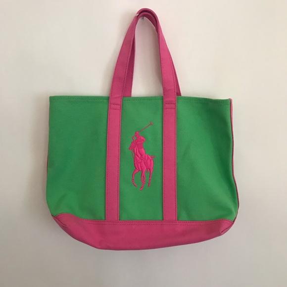 f6aac067b2 Ralph Lauren Big Pony Green Pink Tote Bag Holdalls.  M 5a08dcec620ff702c313c88c