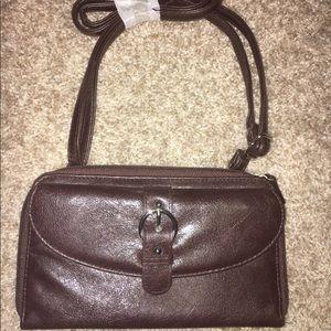 NWT Brown Leather Crossbody Bag