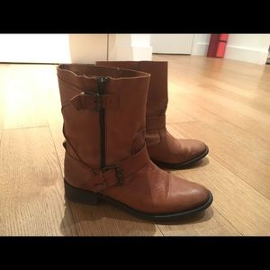 Zara - Tan Leather Moto Boots