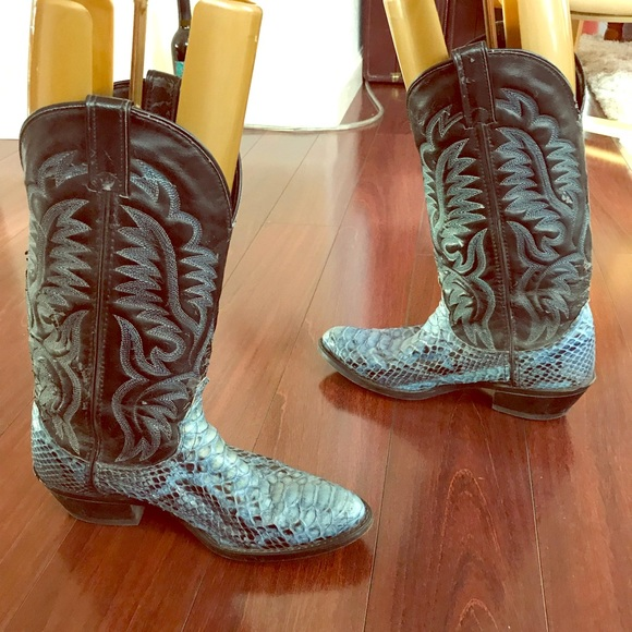 c4a14a10b55 Blue Genuine Snakeskin Boots 7EE