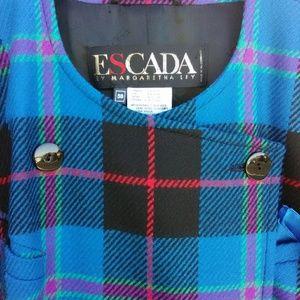 'Vintage Escada' Plaid Wool-Blend Jkt