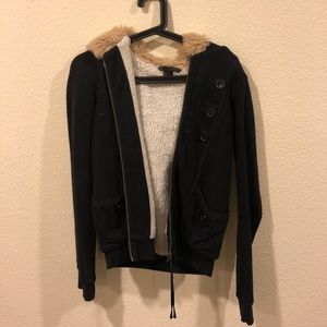 Marc by Marc Jacobs faux fur lined hoodie jacket