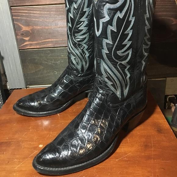 134cc67bb58 Justin Black Alligator Skin Cowboy Boots Sz 8