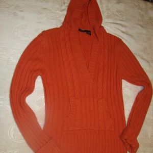Rue 21 V neck Orange cable sweater with hood