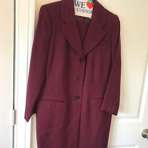Harvey Bernard  burgundy sheath suit: dress &jkt