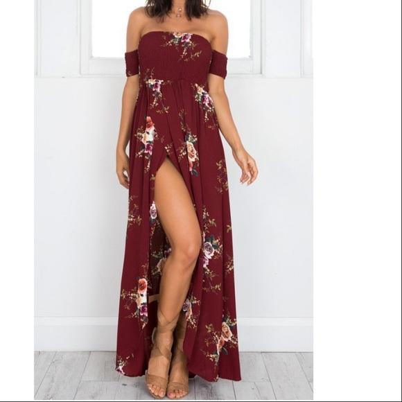 de116f6e4d8f Vacation Ready wine floral off shoulder dress