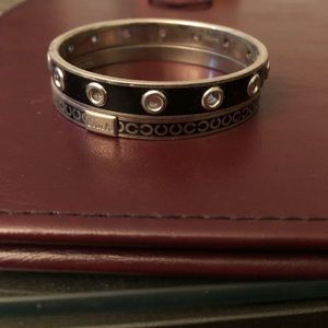 Set of two Coach black and silver bangles