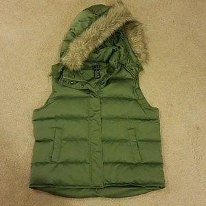 INC Olive Green Puffer Vest