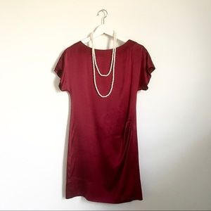 Banana Republic Maroon Burgundy Sill Shift Dress 0