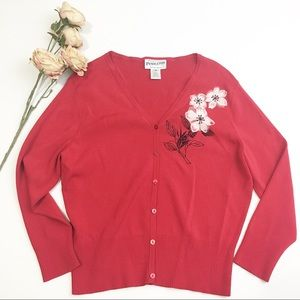 ⚫️ Pendleton Red Cardigan with Flower Design
