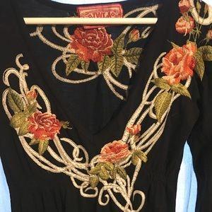 JWLA black embroidered dress size S