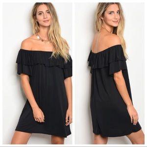 Dresses & Skirts - Black Off-shoulder Ruffle Dress