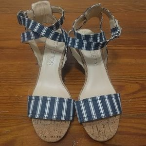 Blue and white striped sandles with heel