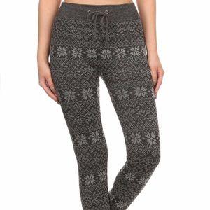 Pants - Snowflake print joggers