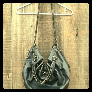 JUSTFAB Black Studded Silver Chain Large PURSE