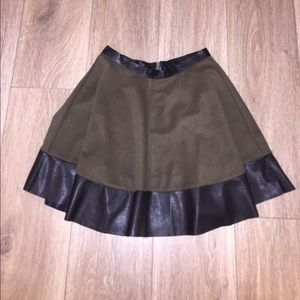 Olive Green Skirt w Black Pleather