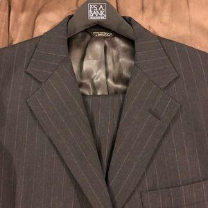 Southwick Grey w/ White Pinstripe Suit 42R