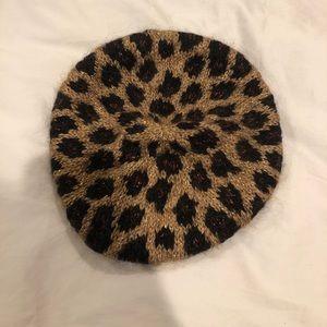 Leopard Knit Metallic Hat!!