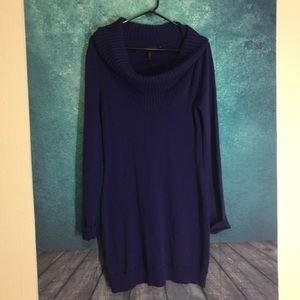 Bcbg pretty purple cowl neck sweater dress size L