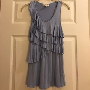 Periwinkle tank top with ruffles