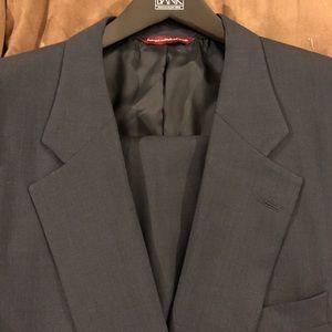 Samuelsohn Navy Blue Tic-Weave Suit 48R
