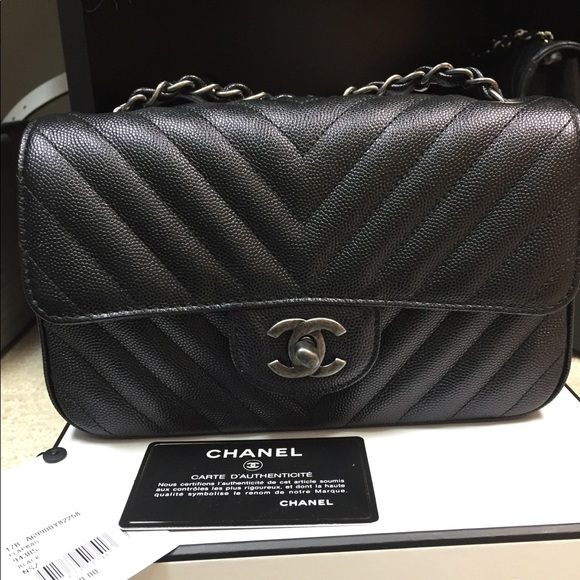 CHANEL Handbags - CHANEL Black Caviar Chevron Ruthenium Mini 20e54876eb06e